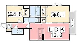 エソラ ソレーユ田寺東[106号室]の間取り