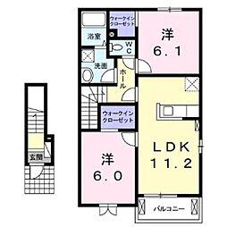 JR小海線 東小諸駅 徒歩12分の賃貸アパート 2階2LDKの間取り