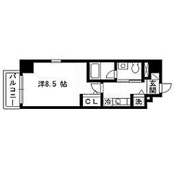 パルティーレEXE片平タワー 13階1Kの間取り