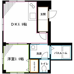 JR中央本線 阿佐ヶ谷駅 徒歩5分の賃貸マンション 2階1DKの間取り