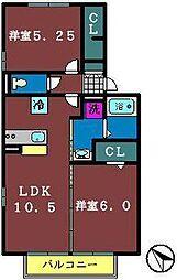 グレイス鷺沼台B[2階]の間取り