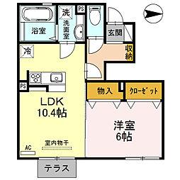 Y's court 横田 1階1LDKの間取り