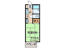 京都府京都市伏見区深草善導寺町の賃貸アパートの間取り