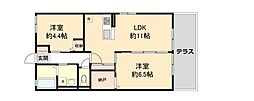近鉄長野線 喜志駅 徒歩10分の賃貸アパート 1階2LDKの間取り