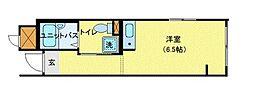 JR中央本線 東小金井駅 徒歩3分の賃貸マンション 2階ワンルームの間取り