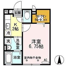 東京都足立区六町3丁目の賃貸アパートの間取り
