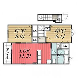 JR総武本線 八街駅 バス5分 吉田下車 徒歩8分の賃貸アパート 2階2LDKの間取り