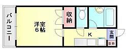 福岡県大野城市雑餉隈町3丁目の賃貸アパートの間取り