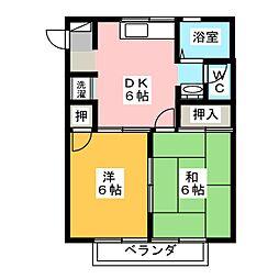 ハイユニメント・イッセーA[2階]の間取り