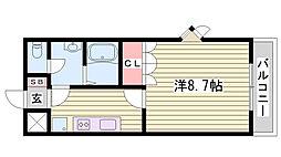 神戸市西神・山手線 伊川谷駅 徒歩3分の賃貸アパート 2階1Kの間取り