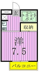 千葉県松戸市竹ケ花の賃貸アパートの間取り