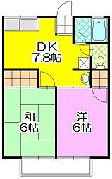 茨城県守谷市けやき台3丁目の賃貸アパートの間取り
