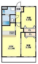 愛知県豊田市千石町2丁目の賃貸アパートの間取り