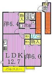 クレストM壱番館、弐番館[1-204号室]の間取り
