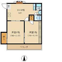 東京都江戸川区中葛西6丁目の賃貸アパートの間取り