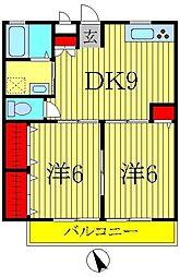 桜台コーポII[102号室]の間取り