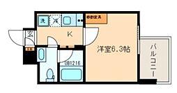 西武新宿線 久米川駅 徒歩1分の賃貸マンション 7階1Kの間取り