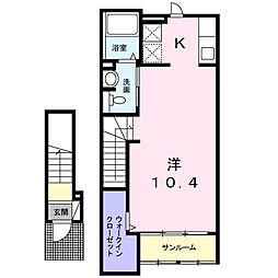 東京都日野市大坂上4丁目の賃貸アパートの間取り