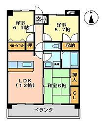 K's2002[205号室号室]の間取り