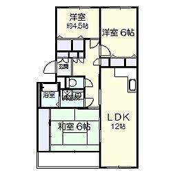 ガーデンヒルズ六高台A棟[103号室]の間取り