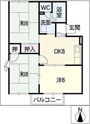 サンモールB棟[1階]の間取り