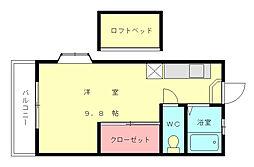 福岡県福岡市東区多々良1丁目の賃貸アパートの間取り