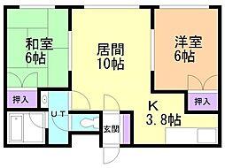 橋本マンション 2階2LDKの間取り