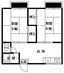 浜根荘[201号室号室]の間取り