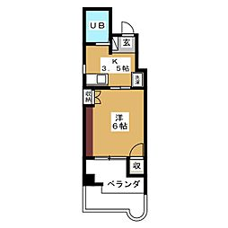 キャステル3[5階]の間取り