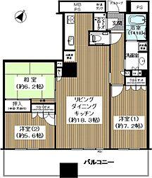 クロスタワー大阪ベイ 29階3LDKの間取り