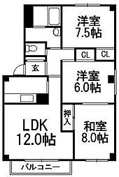 稲穂駅前ハイツIII[105号室]の間取り