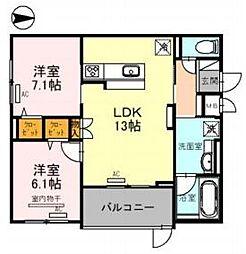 Osaka Metro御堂筋線 江坂駅 徒歩5分の賃貸マンション 2階2LDKの間取り