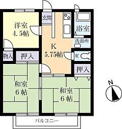 糸賀ハイツ 2階3DKの間取り