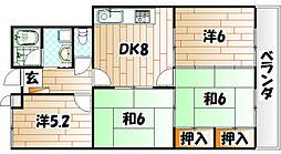 サンシティ三萩野[4階]の間取り