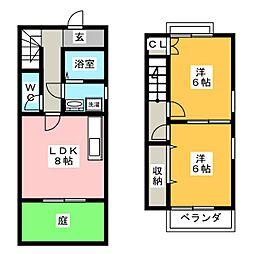 [テラスハウス] 岐阜県岐阜市本荘西4丁目 の賃貸【/】の間取り