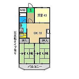 コーポ田中2号館[2階]の間取り