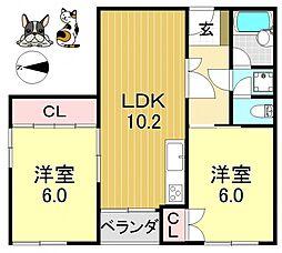 ボナール平野[5O3号室号室]の間取り