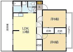楽々荘[1階]の間取り