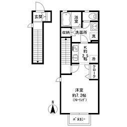 JR中央本線 国立駅 徒歩6分の賃貸アパート 2階ワンルームの間取り
