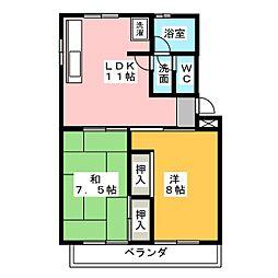 箕ノ手ハイツ B棟[2階]の間取り