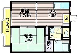 東京都調布市若葉町1の賃貸アパートの間取り