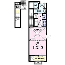 西原8丁目アパートB[2階]の間取り
