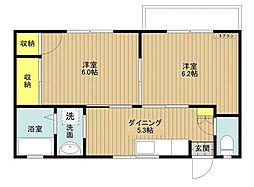 東京都江戸川区北葛西2丁目の賃貸アパートの間取り