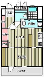 フォルテシモマンション 1階1LDKの間取り