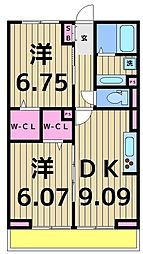東京都足立区南花畑2丁目の賃貸アパートの間取り
