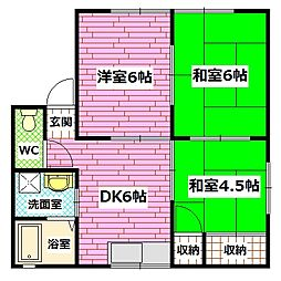 広島県広島市安芸区矢野西1丁目の賃貸アパートの間取り