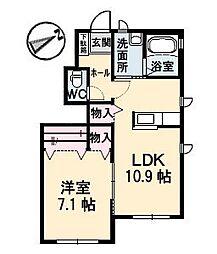 広島県広島市東区矢賀3丁目の賃貸アパートの間取り