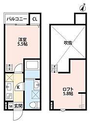 神奈川県大和市中央林間2丁目の賃貸アパートの間取り