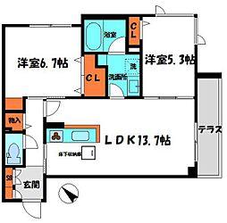 京阪本線 土居駅 徒歩3分の賃貸マンション 1階2LDKの間取り