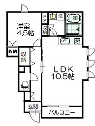 JR仙山線 愛子駅 徒歩3分の賃貸アパート 1階1LDKの間取り